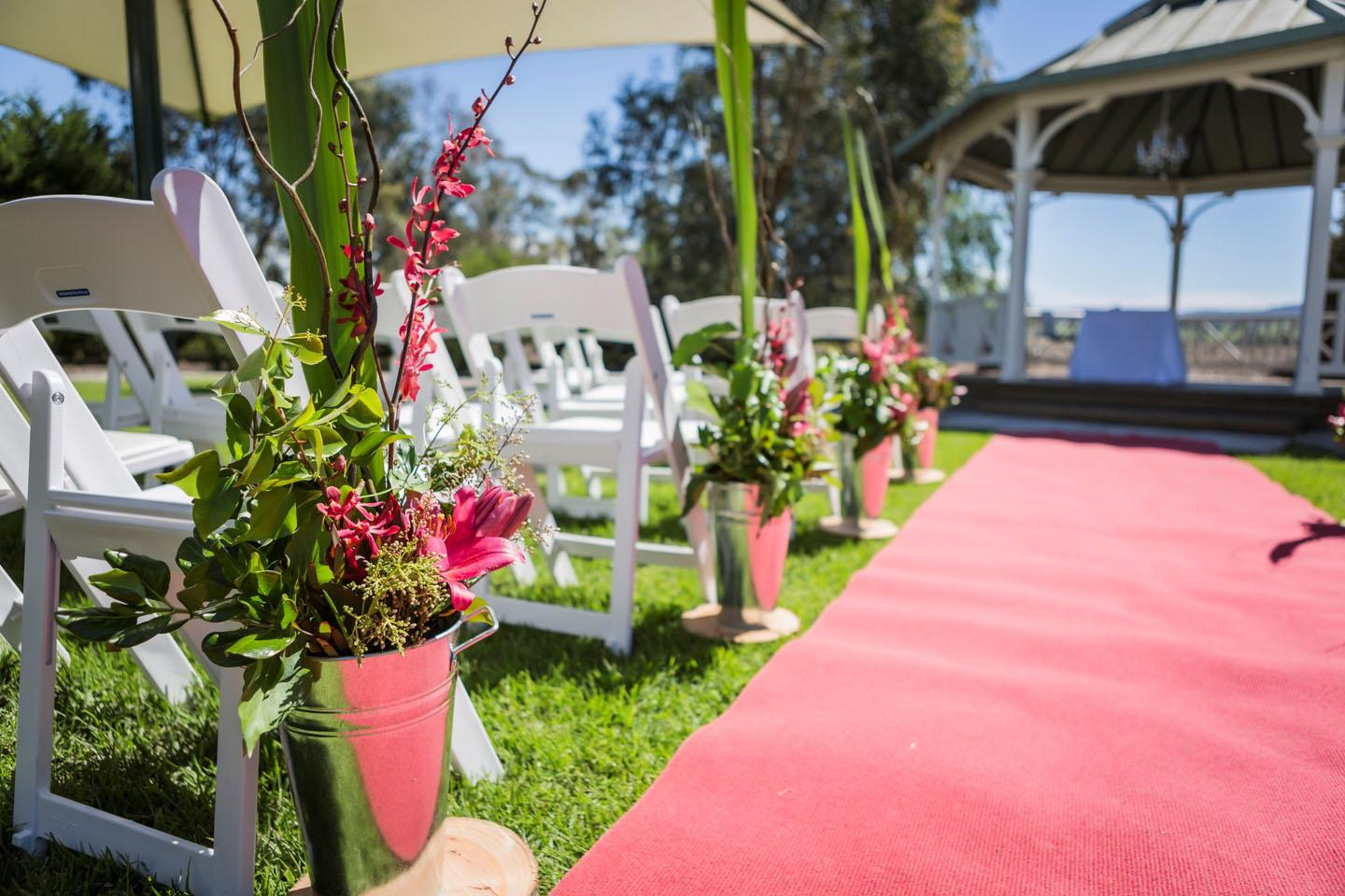 Wedding Aisle leading to our lovely outdoor garden gazebo